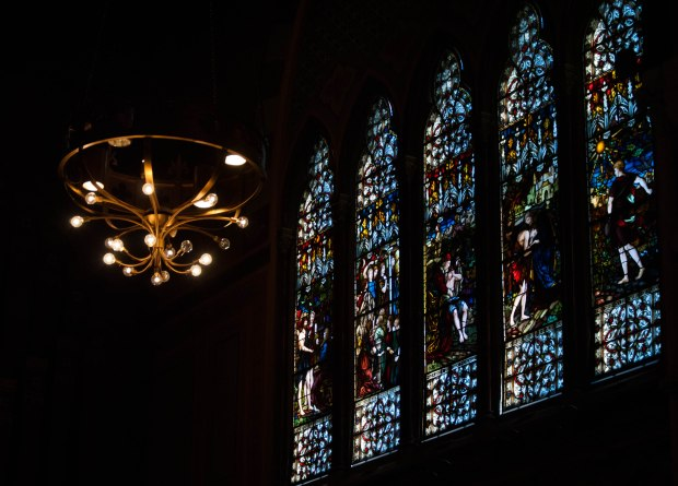 On Sunday September 29, light reflects through the stained glass windows of the Old South Church in Copley Square. Created by Chelsea Diana.