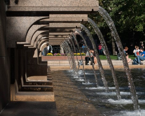 On Sunday September 29, people gather at the fountain in Copley Square. Created by Chelsea Diana.