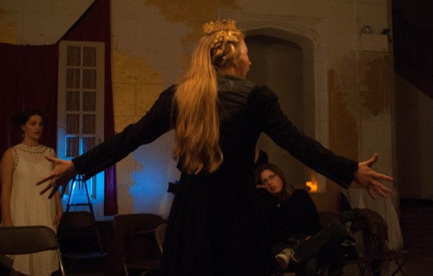 Oct. 16, 2013- Rich performs her final scene as Elizabeth I during the dress rehearsal on Wednesday night. The performance is scheduled to play Thursday, Friday, Saturday and Sunday nights, with a matinee show on Sunday afternoon. Created by Chelsea Diana.